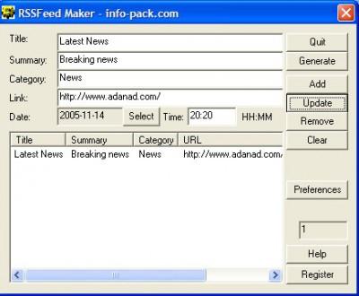 RSS Feed Maker 1.01 screenshot