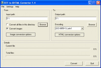 RTF to XHTML Converter 1.5 screenshot