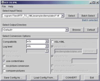 RTF TO XML 5.5 screenshot