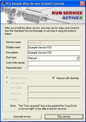 Run Service ActiveX 2.0 screenshot
