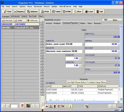 Sales Orders Organizer Pro 3.2b screenshot