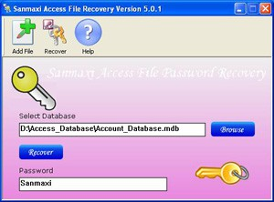 Sanmaxi Access Password Recovery 5.0.1 screenshot