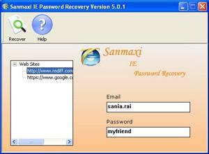 Sanmaxi IE Password Recovery 5.0.1 screenshot