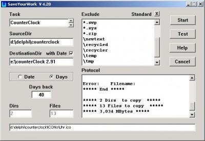 SaveYourWork 4.33 screenshot