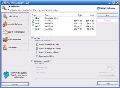 SBMAV Disk Cleaner 3.44.0.129 screenshot
