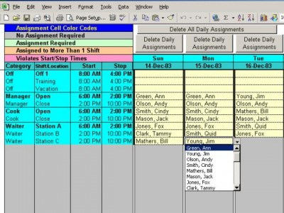 Schedule Split Shifts for Your Employees with Exce 6.3 screenshot