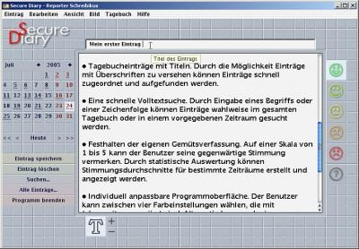 Secure Diary (PC-Tagebuch) 2.2 screenshot