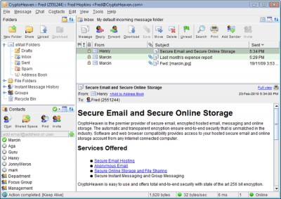 Secure Email CryptoHeaven 3.5.3 screenshot