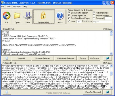 Secure HTML Lock 1.3.2 screenshot