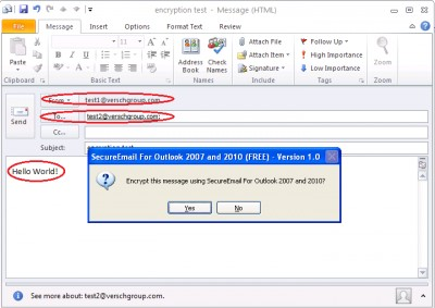 SecureEmail for Outlook 2010 1.0 screenshot