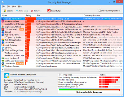 Security Task Manager 2.3 screenshot