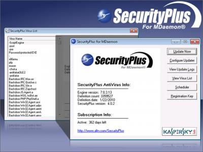 SecurityPlus for MDaemon 4.1.2 screenshot