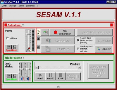 SESAM - Self Extracting Small Audio Mail 1.4 screenshot