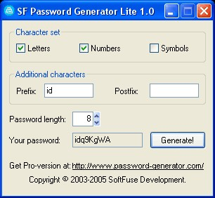 SF Password Generator Lite 1.1 screenshot