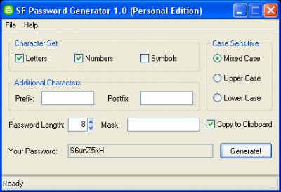 SF Password Generator Personal 1.0 screenshot