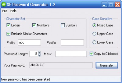 SF Password Generator 1.2 screenshot