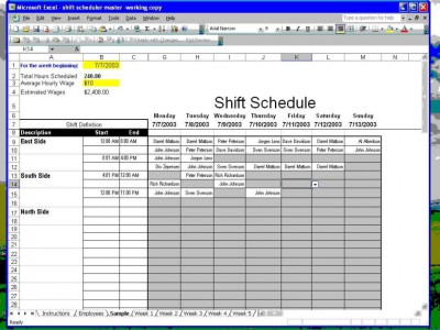 Shift Scheduler for Excel 1.21 screenshot