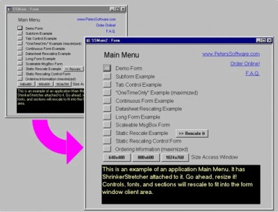 ShrinkerStretcher for MS Access 97 97.91 screenshot