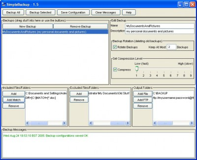 SimpleBackup 1.6 screenshot