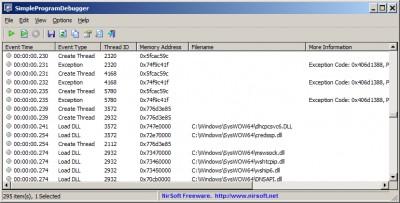 SimpleProgramDebugger 1.05 screenshot