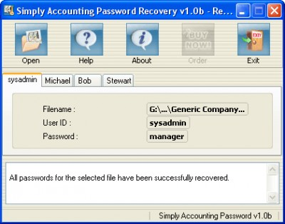 #Simply Accounting Password Recovery 3.0 screenshot