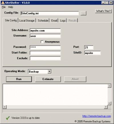 SiteShelter Online Backup for Web Sites 3.1 screenshot