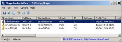 SkypeContactsView 1.05 screenshot
