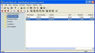 Small Business Inventory Control Pro 6.0 screenshot