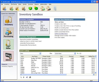 Small Business Inventory Control Pro 8.20 screenshot