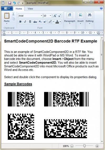 SmartCodeComponent2D Barcode 2.0 screenshot