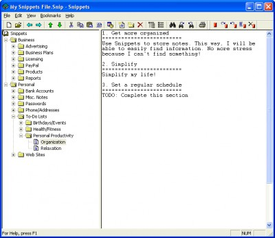 Snippets Text Database 1.61 screenshot