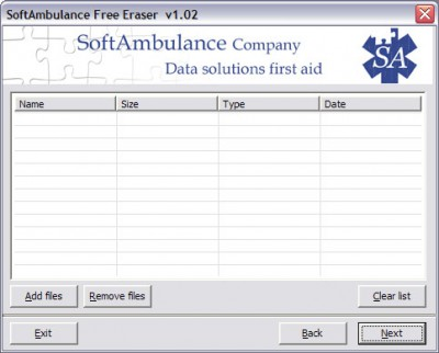 SoftAmbulance Free Eraser 1.30 screenshot