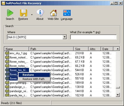 SoftPerfect File Recovery 1.2 screenshot