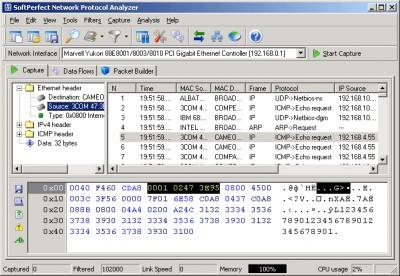 SoftPerfect Network Protocol Analyzer 2.3 screenshot