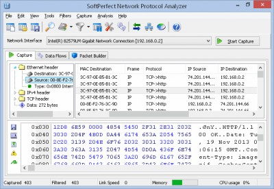 SoftPerfect Network Protocol Analyzer 2.9.1 screenshot
