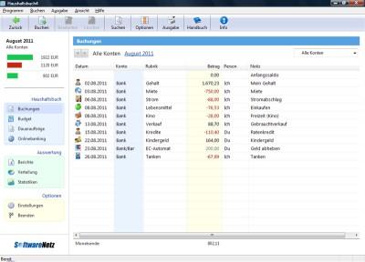 SoftwareNetz Haushaltsbuch 4.00 screenshot