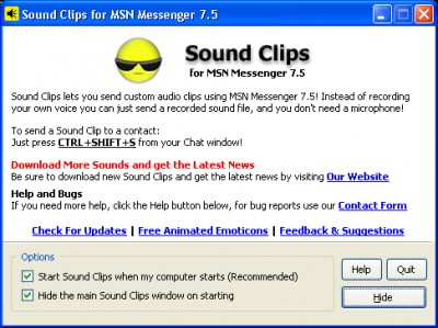 Sound Clips for MSN Messenger 1.7.0 screenshot