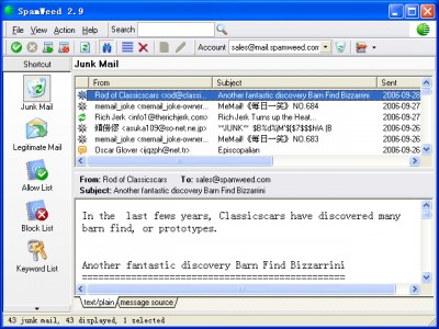 SpamWeed Anti-Spam Filter 2.9.1037 screenshot
