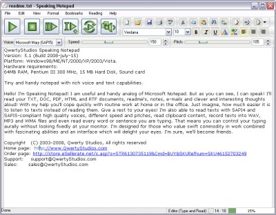 Speaking Notepad 5.2 screenshot