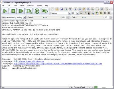 Speaking Notepad 5.2 screenshot