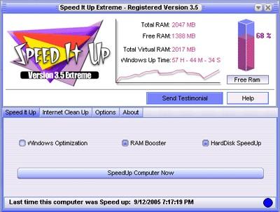 SpeedItUp Extreme 3.60 screenshot