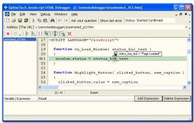 SplineTech JavaScript HTML Debugger 5.11 screenshot