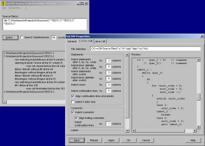 SQCBW Source Code Beautifier 3.12v screenshot