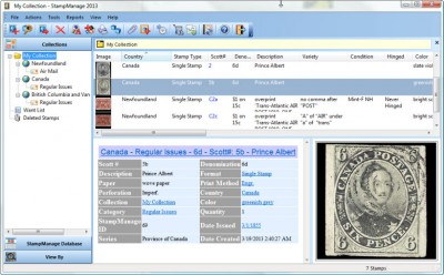 StampManage Canada Philatelic Software 2012 screenshot