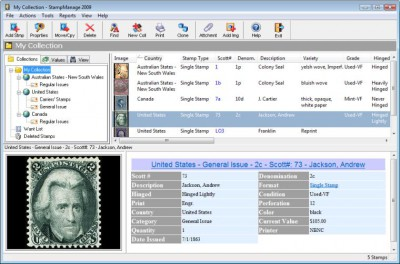 StampManage Stamp Collecting Software 2010 screenshot