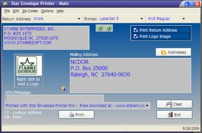 Star Envelope Printer Pro 5.30 screenshot
