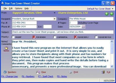 Star Fax Cover Sheet Creator 3.00 screenshot