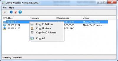 SterJo Wireless Network Scanner 1.2 screenshot