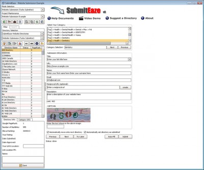 SubmitEaze - Directory Submisison Software 9.0 screenshot