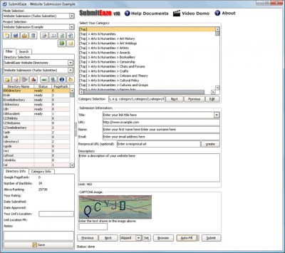 SubmitEaze Directory Submission Software 10.0 screenshot